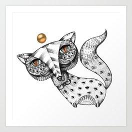Fox and gold Art Print