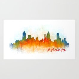 Atlanta City Skyline Hq v3 Art Print