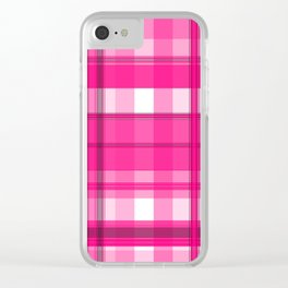 Shades of Pink and White Plaid Clear iPhone Case
