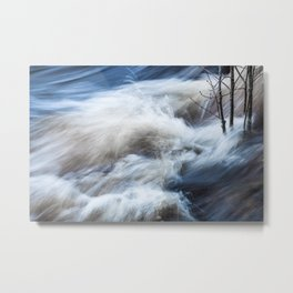Beautiful colorful rapids and tree branches close view Metal Print