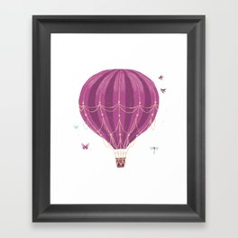 Fly Balloon With Birds And sparkle Framed Art Print