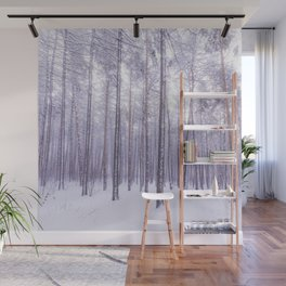 Snow in Trees Wall Mural