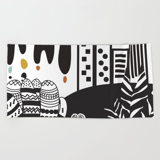 Black and white landscape Beach Towel