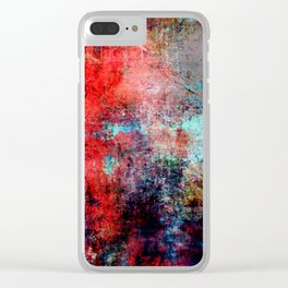 Modern Contemporary Red Abstract IntoDarkness Design Clear iPhone Case