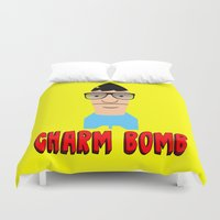 tina Duvet Covers featuring Charm Bomb  |  Tina Belcher  by Silvio Ledbetter