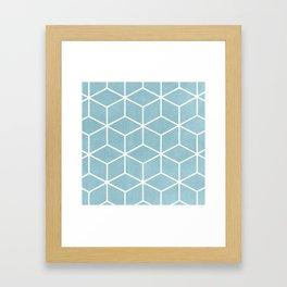 Light Blue and White - Geometric Textured Cube Design Framed Art Print