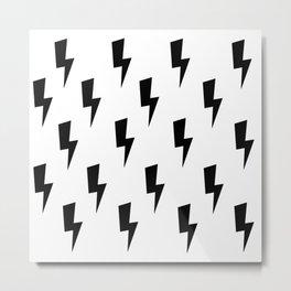 Lightning Bolts- Black Metal Print