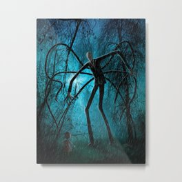Slender Man and the Lost Soul Metal Print