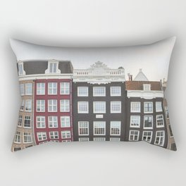 The Famous Row Of Amsterdam Photo | Historical Houses By The Canal Art Print | Dutch Travel Photography Rectangular Pillow
