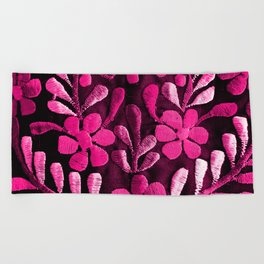 Hot Pink Mexican Flowers Beach Towel