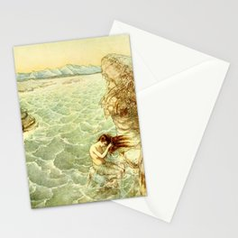 Siren combing her hair in the ocean Stationery Cards