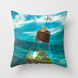 Captain Snuggles and The Lightboat Throw Pillow