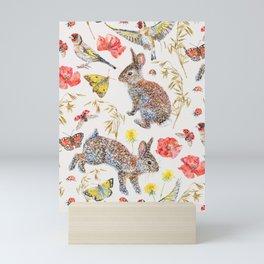 Bunny Meadow Pattern Mini Art Print