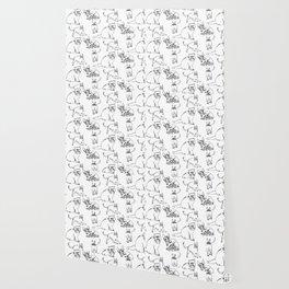 Minimal Black Line Cat Pattern Wallpaper