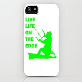 Live Life On The Edge Neon Lime Kitebeach iPhone Case