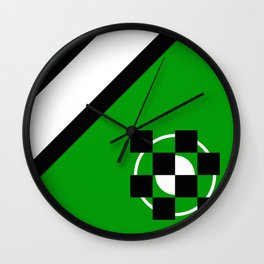 Simplicity - Green, black and white, geometric, abstract Wall Clock