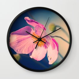 Dynamic Anemone Botanical photograph print; hot pink poppy type flower with gold vivid blue Wall Clock