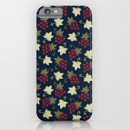Sweet Grapevine on Dark Navy Blue iPhone Case