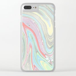 Pink coral mint green aqua watercolor abstract marble pattern Clear iPhone Case