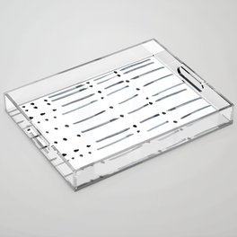 black and white dots and dashes boho modern Acrylic Tray