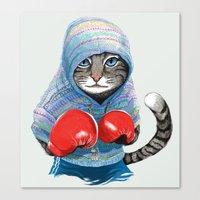 boxing Canvas Prints featuring Boxing Cat by Tummeow