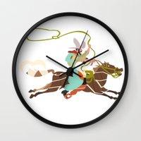 cowboy Wall Clocks featuring Cowboy by Design4u Studio