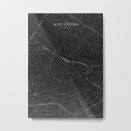 Silver Amsterdam City Map Metal Print