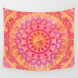Sun Kissed Mandala Orange Pink Wall Tapestry