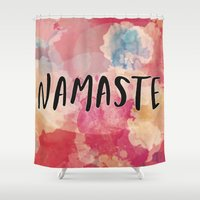 namaste Shower Curtains featuring Namaste by Laura Santeler