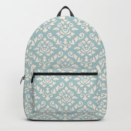 Damask Baroque Pattern Cream on Blue Backpack