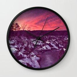 Great Falls Winter Twilight - Violet Velvet Fantasy Wall Clock