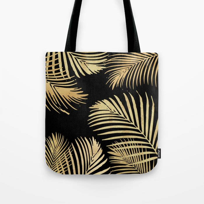 Gold Palm Leaves on Black Tote Bag