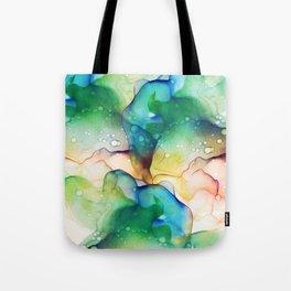 Mermaid Ocean Green Flowing Abstract Painting Tote Bag