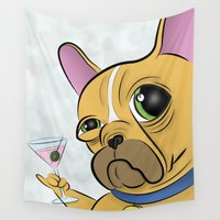 frenchie Wall Tapestries featuring Frenchie by Kandus Johnson