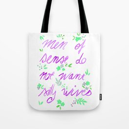 Men of sense do not want silly wives - Purple & Green Palette Tote Bag