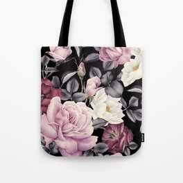 Pinky purple Medley of Roses, Peony and Leaves Tote Bag