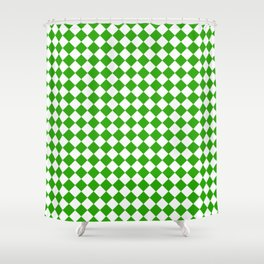 VERY SMALL Green and White HARLEQUIN DIAMOND PATTERN Shower Curtain