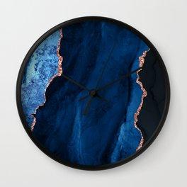Sapphire Blue and Elegant Aqua Rose Gold Agate Wall Clock
