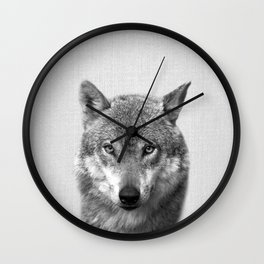 Wolf - Black & White Wall Clock