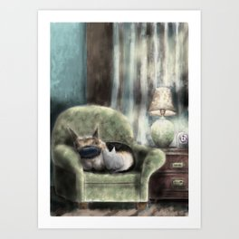 cat and pup together Art Print