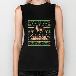 Ugly Christmas German Shepherd Xmas Apparel Funny Biker Tank