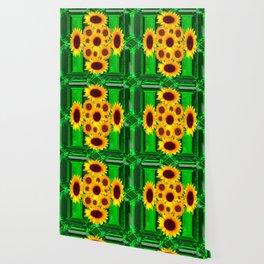SPRING GREEN EMERALDS & YELLOW FLOWERS  ART Wallpaper