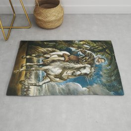 Royal on horseback portrait Rug