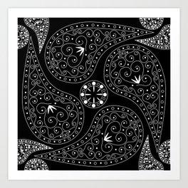 White & Black Coordination Art Print