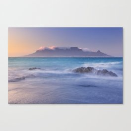 Sunrise over the Table Mountain and Cape Town from Blouwbergstrand Canvas Print