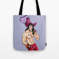 captain hook Tote Bags featuring Captain Hook Selfie - Peter Pan by Hungry Designs