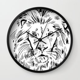 Lion Face Art Cool Graphic Zoo Animals Lover Zoo Keeper Gift Wall Clock