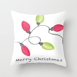 Merry Christmas String of Lights Throw Pillow