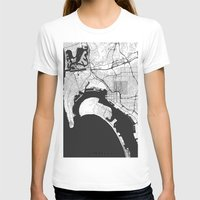gray T-shirts featuring San Diego Map Gray by City Art Posters