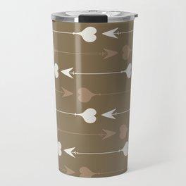 Cupid Arrows - Brown and Beige Travel Mug